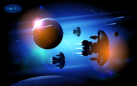Alien Spacecrafts flying in outer space.  Vector