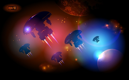 Alien Spacecrafts flying in outer space. Stock Vector - 12964703