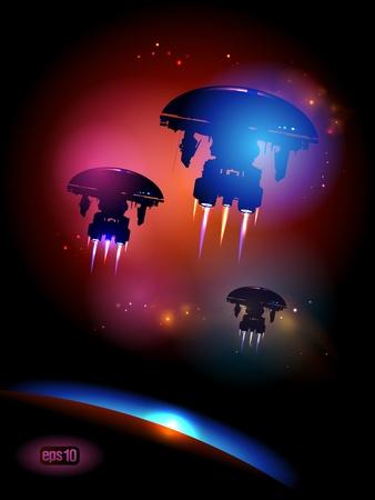 Alien Spacecrafts leaving Earth. Stock Vector - 12964696