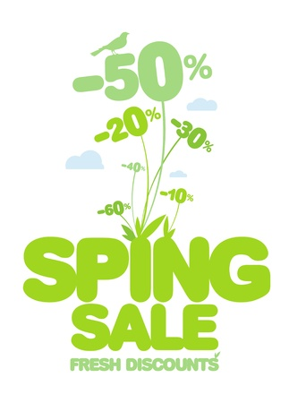 Spring sale design template. Fresh discounts. Stock Vector - 12964675
