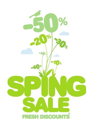 Spring sale design template. Fresh discounts. Stock Vector - 12964675