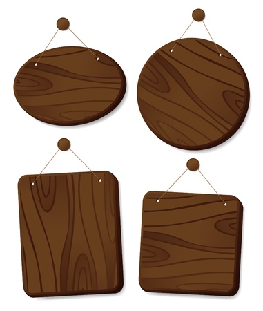Wooden boards collection hanging on a cord with a nail. Stock Vector - 12964676