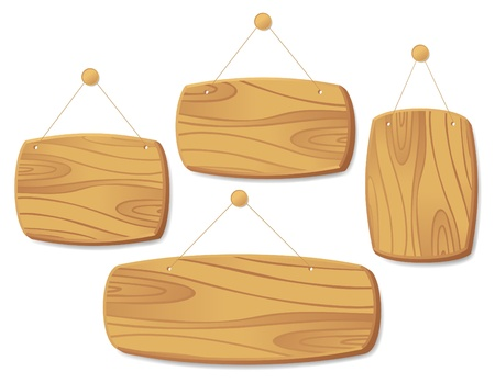 Wooden boards collection hanging on a cord with a nail. Vector