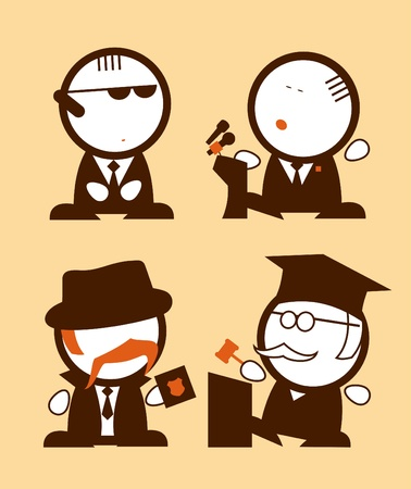 tribunal: Set of Politics and Law profession funny peoples icons  Illustration
