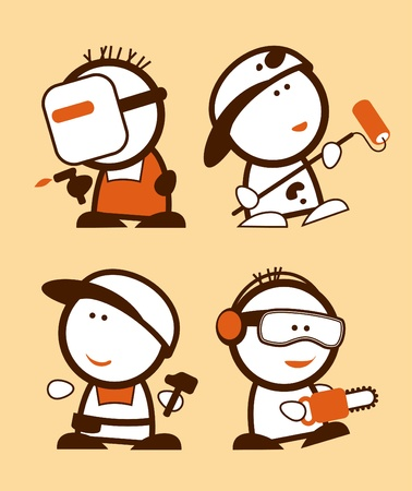 woodcutter: Set of construction professions funny peoples icons