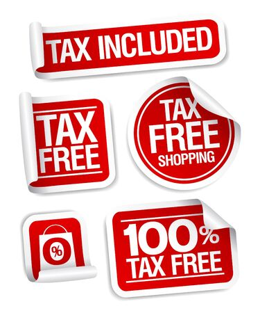 Tax free shopping stickers set  Vector