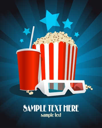Cinema poster with popcorn box, cola and 3D glasses