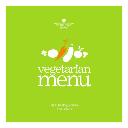 eating fast food: Restaurant Vegetarian Menu Card Design template