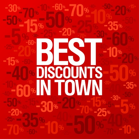 Best discounts in town background with percent discount pattern  Vector