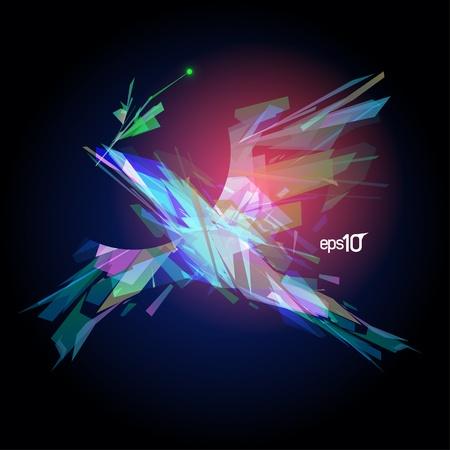 Abstract laser flying bird
