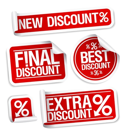 Best discount sale stickers set  Illustration