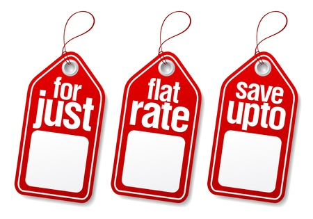Sale label tags with empty place for price.
