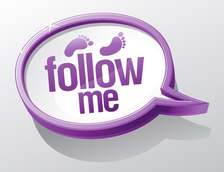 Follow me shiny glass speech bubble. Vector