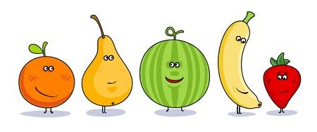 frutas divertidas: Humor verduras s�mbolos de dibujos animados. Vectores