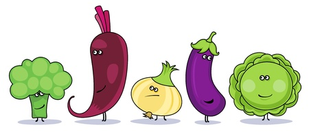 cabbage: Funny cartoon vegetables symbols.