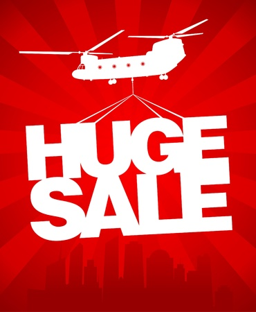 big sale: Huge sale carried by a helicopter above the city. Vector design template.