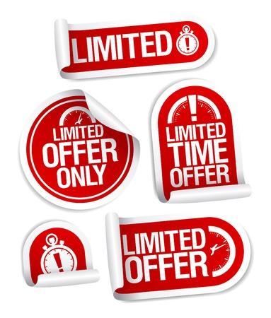 Beperkt aanbod verkoop stickers in te stellen. Vector Illustratie