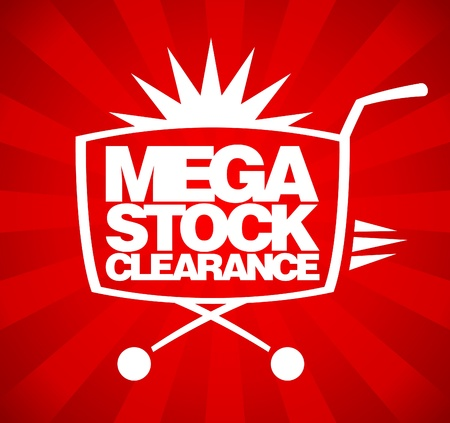 Mega stock clearance. Sale design template with shopping basket. Vector