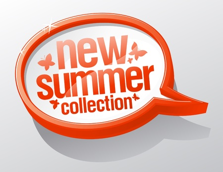 New summer collection shiny speech bubble. Vector