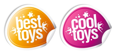 Best cool toys stickers set. Vector