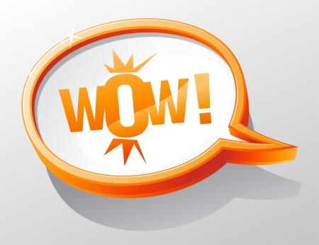 WOW shiny glass speech bubble. Stock Vector - 13300539