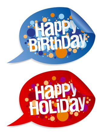 Happy birthday and holidays stickers in form of speech bubbles. Stock Vector - 13403504