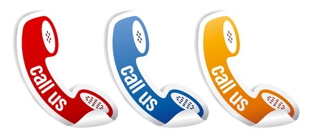 buy button: Call us stickers set.