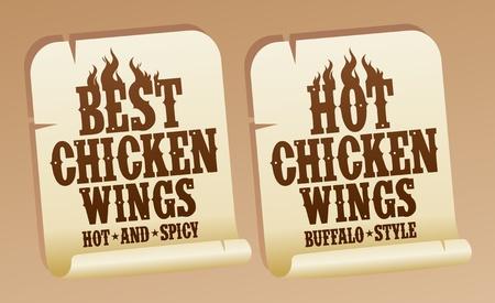 Best hot chicken wings stickers. Stock Vector - 13403496
