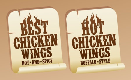 Best hot chicken wings stickers. Vector