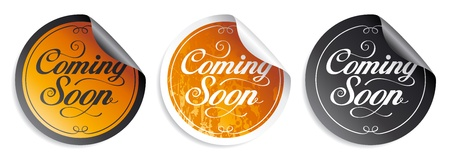 on coming: Coming soon stickers set.