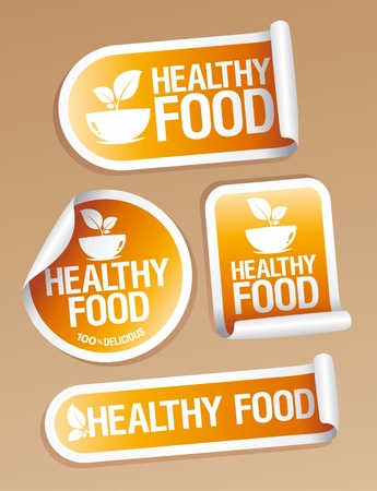 Healthy Food stickers set  Stock Vector - 13403497