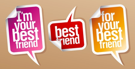 best presentation: I m your best friend stickers in form of speech bubbles  Illustration