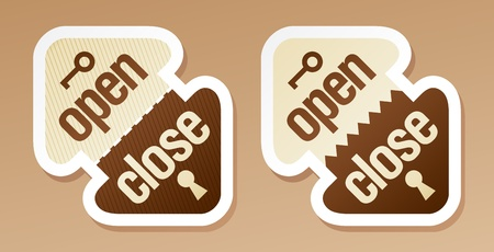 Open and close packing signs  Vector