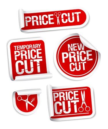 Price cut sale stickers Stock Vector - 13403501