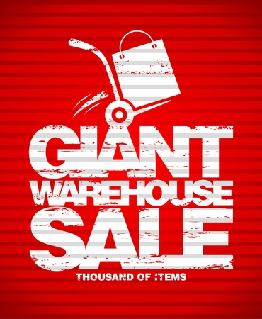 Giant warehouse sale design template with hand truck  Illustration