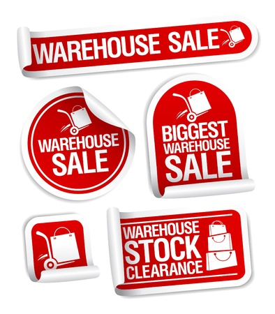 storage warehouse: Warehouse sale stickers with hand truck