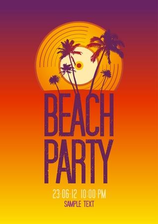 fiesta en la playa: Fiesta en la playa plantilla de dise�o con lugar para el texto Vectores