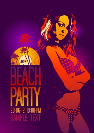Beach Party design template with fashion girl and place for text  Vector