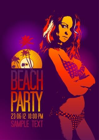 fiesta en la playa: Fiesta en la playa plantilla de dise�o con la chica de la moda y el lugar para el texto