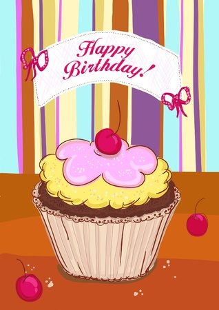 Happy Birthday card template with cupcake with cherry  Vector