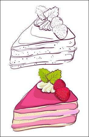 trozo de pastel: Cartoon rebanada de pastel de color y la versión retro del contorno