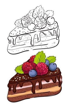 trozo de pastel: Cartoon rebanada de pastel de color y la versi�n retro del contorno