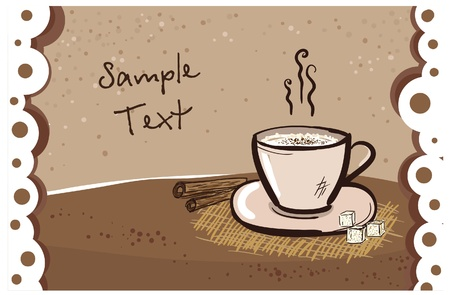 lunch break: Cappuccino mug card design template with place for text