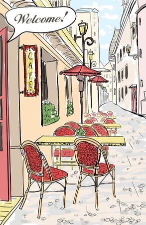 paris vintage: Calle café en la ciudad vieja ilustración boceto