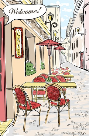Street cafe in old town sketch illustration