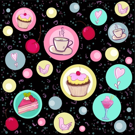 Holiday seamless pattern with sweets and coffee  Ilustracja