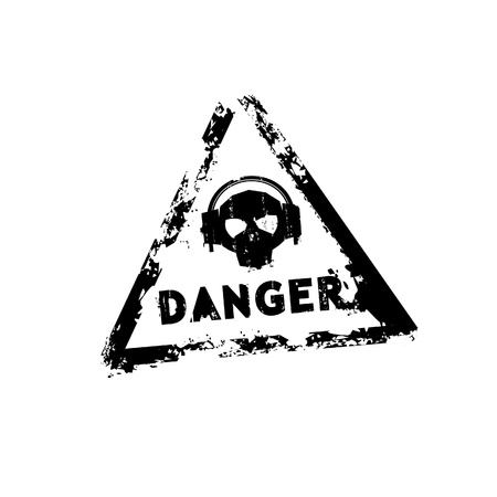 punk rock: Danger sound rubber stamp
