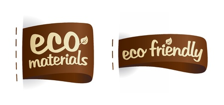 Eco friendly product fabric labels illustration. Vector