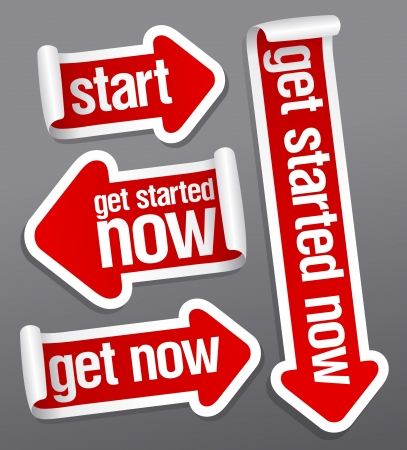 Get started now stickers set. Vector