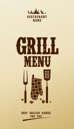 grill meat: Menu Grill Conception de la carte mod�le. Illustration